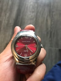 round black and red analog watch with black leather strap Vancouver, V5K 1Z8