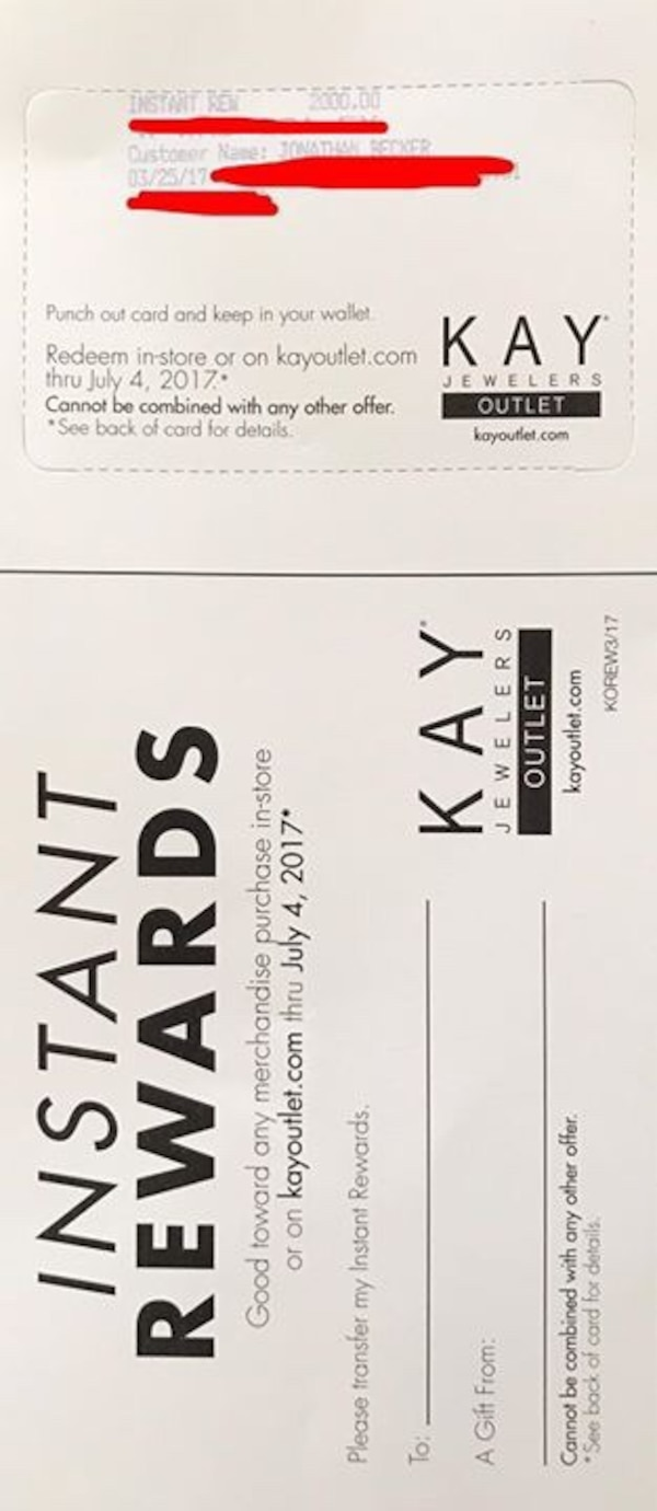 Used $2,000 Instant Rewards to Kay Jewelers Outlet for sale in ...