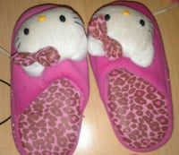 pair of pink-and-white hello kitty leopard print bed slippers Halifax, B3R