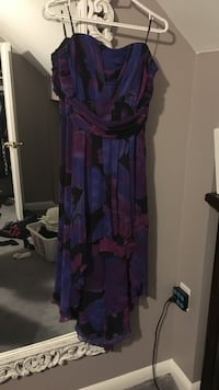 Purple and black strapless hi lo dress  Cambridge, N1R 4L5