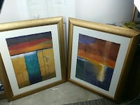 Set of 2 large pictures with frames abstract art 312 mi