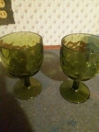 two green glass footed bowls Granby, 64844
