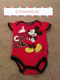 red and black Minnie Mouse onesie 16 km