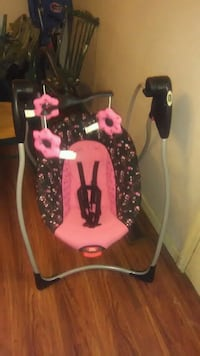 baby's black and pink floral swing chair Chatsworth, 30705