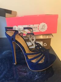 Pair of blue open-toe ankle strap heels size 7 brand new never worn House Springs, 63051