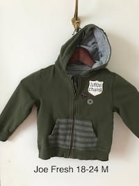 olive-green Little Champ zip-up hoodie