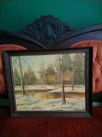 brown wooden framed painting of house Raleigh, 27603