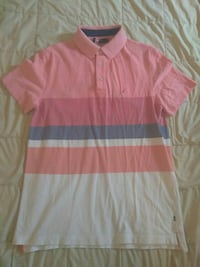 pink, gray, and white polo shirt