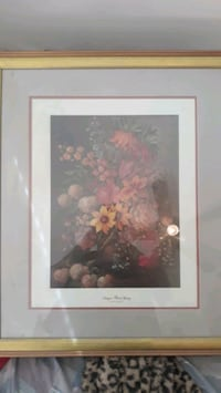 Framed floral artwork