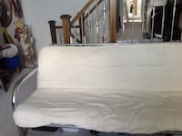 White fabric padded with stainless steel base futon Kitchener, N2E 3P6