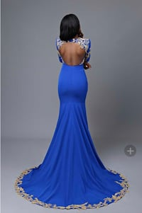 Elegant Mermaid Gold Lace Backless Floor Length Royal Blue Prom Dress New Orleans