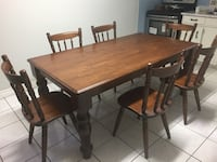 Solid oak wood dining table with 6 chairs (negotiable) Toronto, M1K 1V4