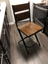 Rustic Wood and Iron Barstool Chairs- Counter Height