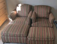 Chairs /sofa set with rolling ottoman