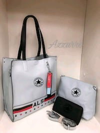 Tote bag Converse All Star in pelle bianca Cinisi, 90045