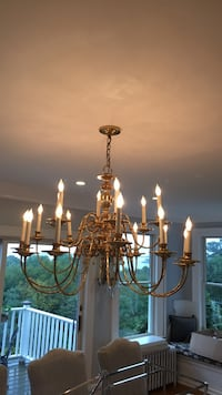 brass and clear glass uplight chandelier Huntington, 11743