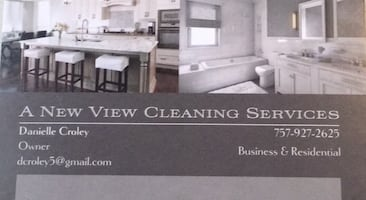 A New View Cleaning Services business card