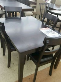 rectangular brown wooden table with six chairs dining set Rome, 30165