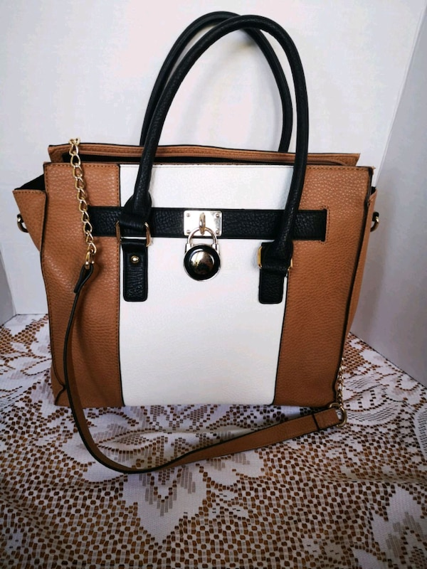 Black Beige & White with gold accents Handbag/Purs
