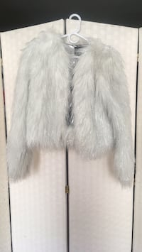 White and silver faux fur coat New York, 10028