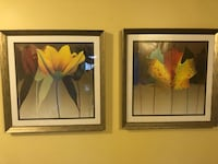two brown wooden framed paintings of pink flowers 60 km