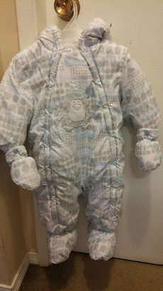 baby's gray polka dotted Penguin pram suit