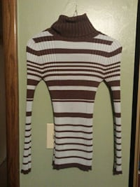 brown and white stripe turtleneck sweater Erie, 16502
