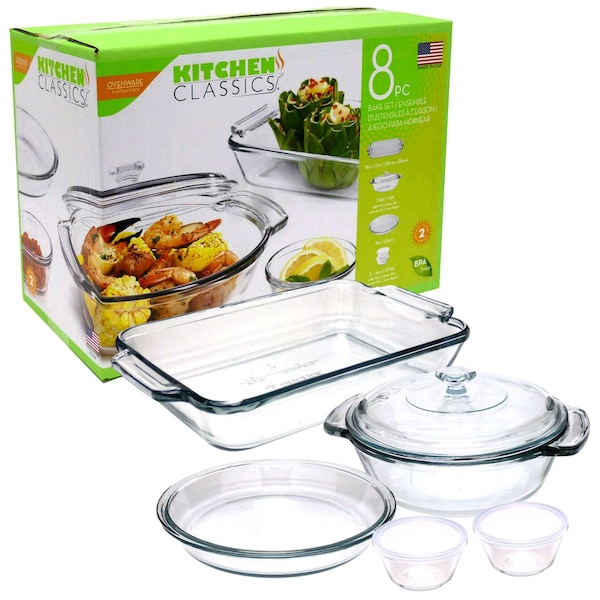 Kitchen Classics 8 Piece Glass Casserole Set BNIB