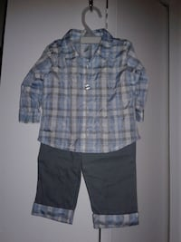 boy's blue, gray, and white plaid sport shirt and pants set
