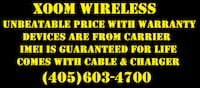 Our Devices come with cable, charge and limited warranty. Xoom Wireles