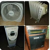 white Holmes box fan, oil heater, and cabinet infrared heater collage Lebanon