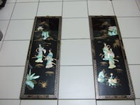 Vintage Black Lacquer Shell/Mother of Pearl Wall Hanging,4376 Mississauga