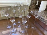 9 glass candle holders  null