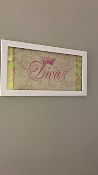 brown and pink Diva printed poster with white frame