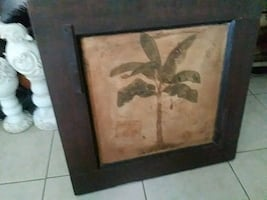 Tropical palm very nice wooden old frame