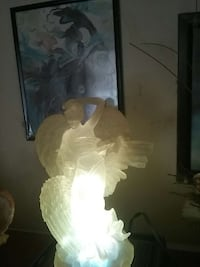 clear glass angel lighted figurine