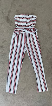 White, black, and red striped jumpsuit. Size XS 903 mi