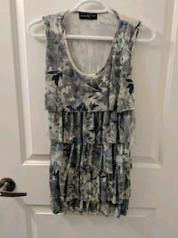 gray and black floral scoop-neck sleeveless dress Markham, L3S
