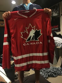 red, white, and black Canada ice hockey jersey shirt Surrey, V3T