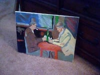 """""""TWO MEN PLAYING CARDS""""  OIL PAINTING ON CANVAS HYATTSVILLE"""
