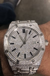Custom stainless steel 14k white gold brushed Lab d iced out AP watch Waukee, 50263