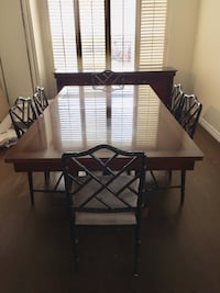 Stunning walnut 7ft dining table (opens to 10 ft), 8 dining chairs, and 6.5ft walnut buffet (w/ marble top)