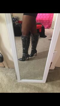 Plastic Lined Black Heeled Boots/Size 6 Silver Spring, 20904