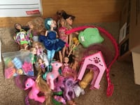 Box of Barbie and my little pony dolls and accessories.  Burnaby, V3N 2Y3