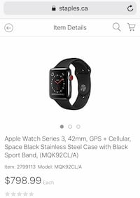 STAINLESS STEEL SERIES3 APPLEWATCH GPS+LTE Edmonton, T6X 2E5