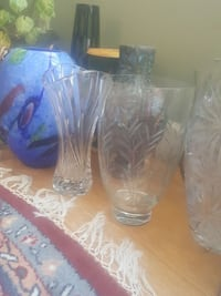 three clear cut glass vases Rockville, 20852