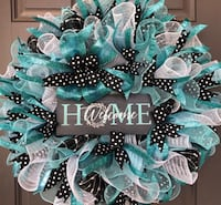 Cute teal Black and white polkadotted wreath