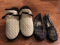 Two pairs of black and white slip-on shoes