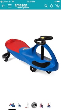 Blue and red ride on toy