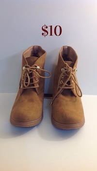Brown Wedged Ankle Boots: Size 7 Brampton, L7A